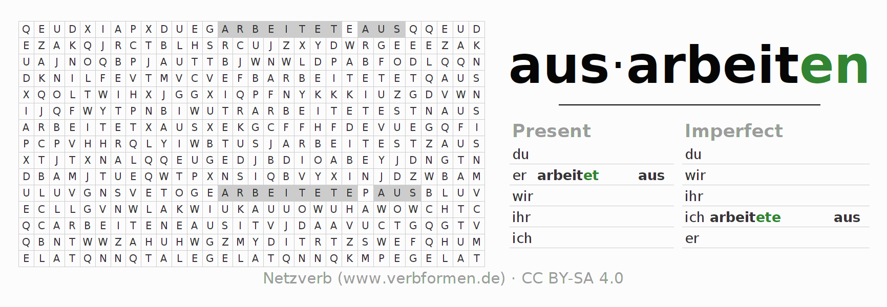 Word search puzzle for the conjugation of the verb ausarbeiten
