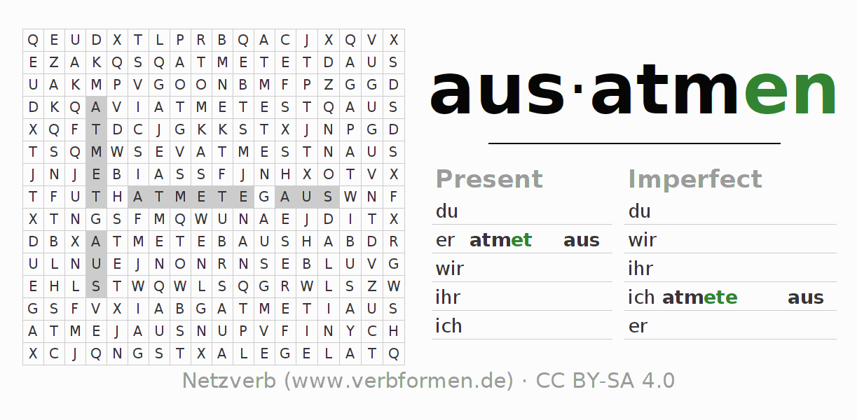 Word search puzzle for the conjugation of the verb ausatmen