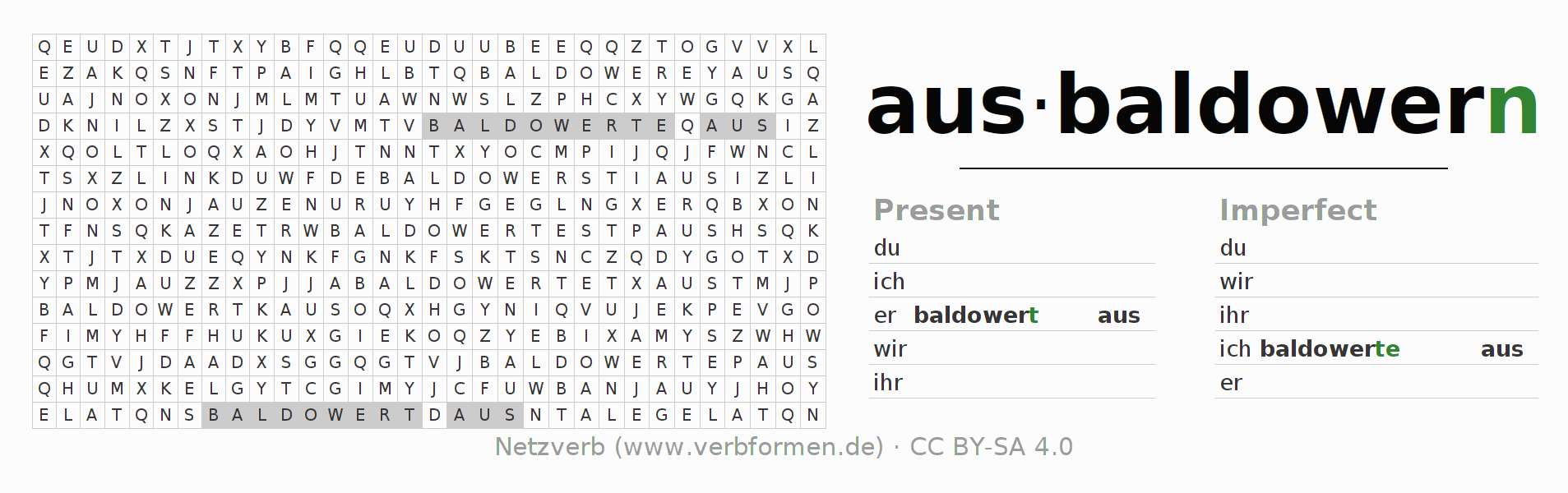 Word search puzzle for the conjugation of the verb ausbaldowern
