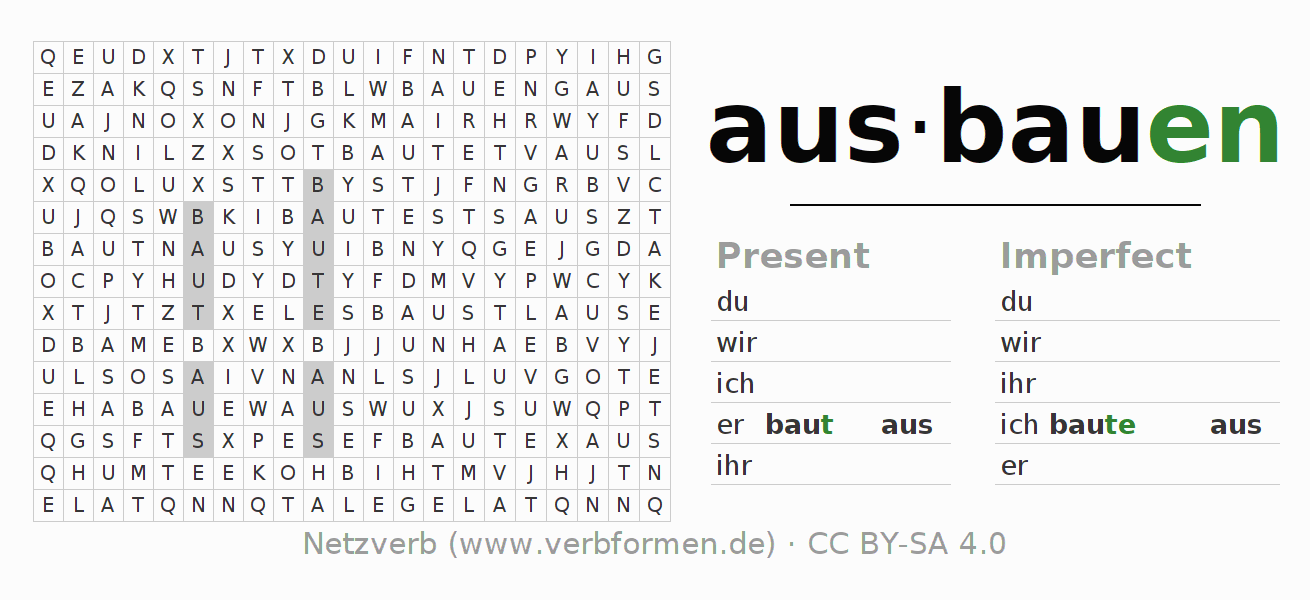 Word search puzzle for the conjugation of the verb ausbauen