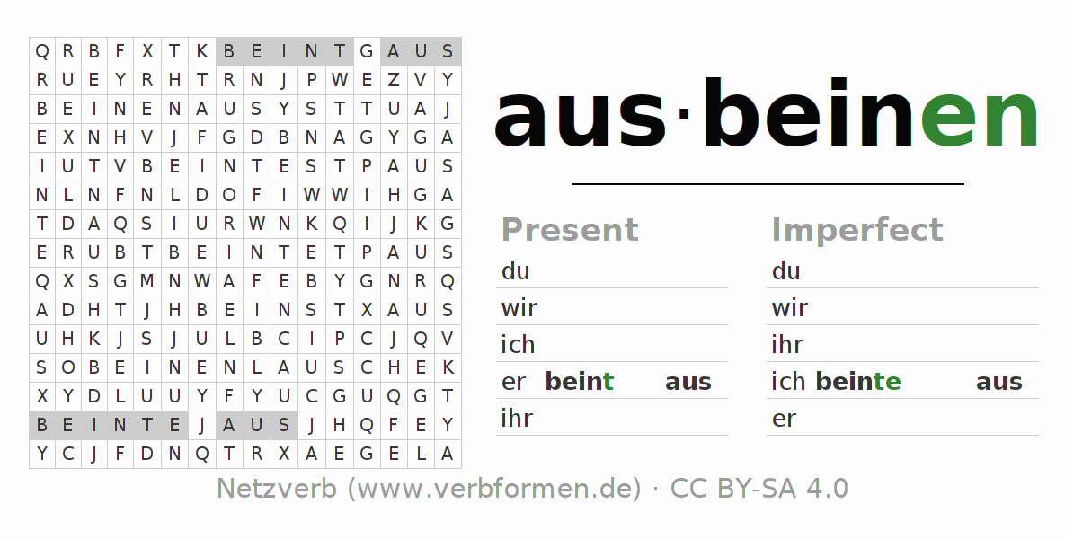 Word search puzzle for the conjugation of the verb ausbeinen