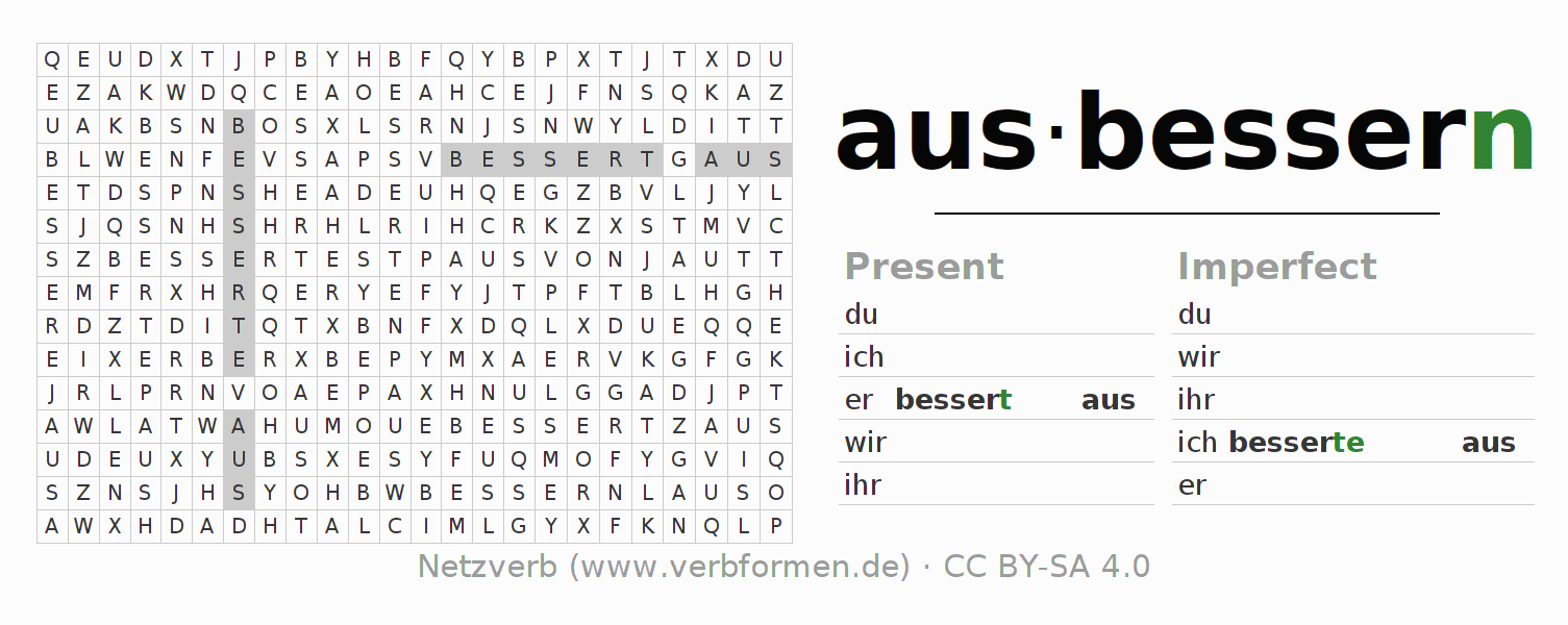 Word search puzzle for the conjugation of the verb ausbessern
