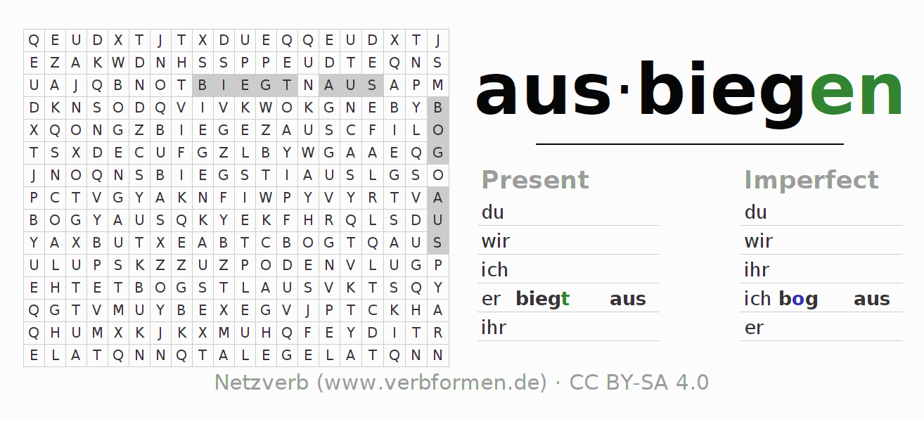 Word search puzzle for the conjugation of the verb ausbiegen (hat)