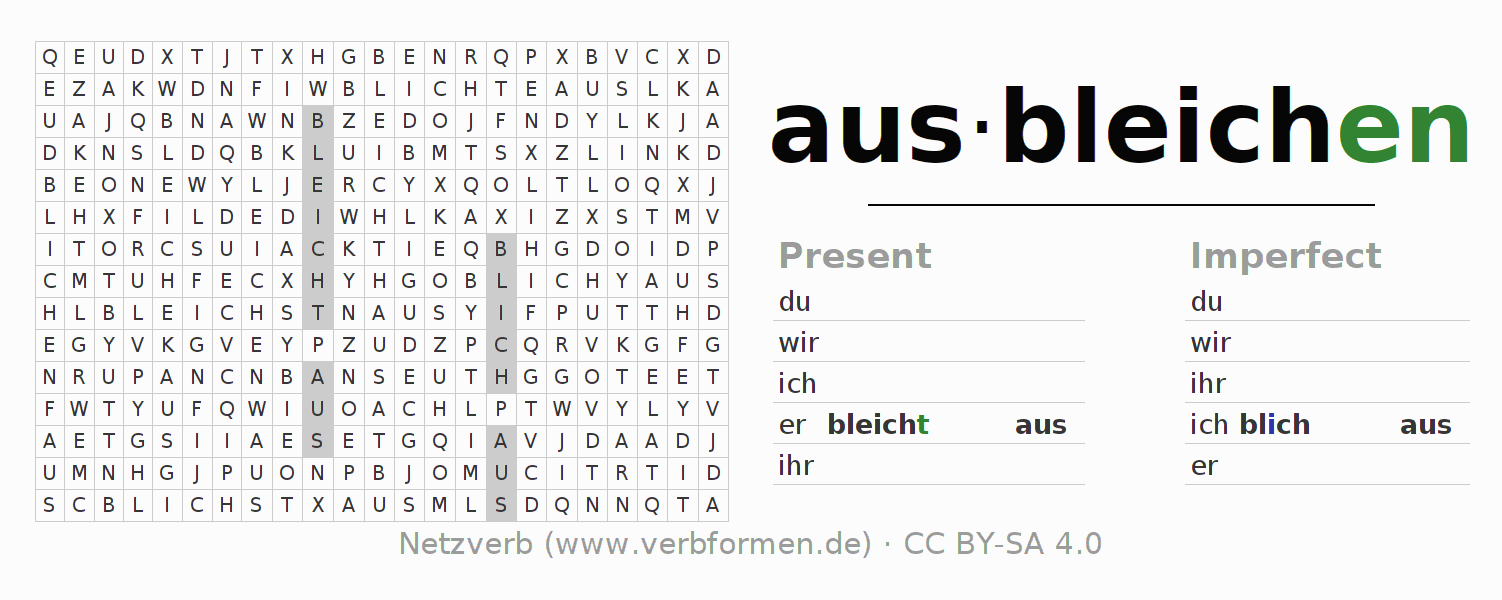 Word search puzzle for the conjugation of the verb ausbleichen (unr) (ist)