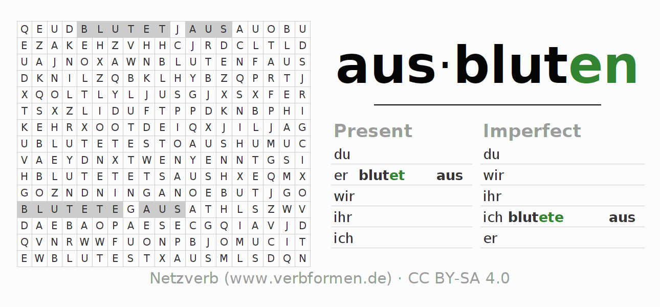 Word search puzzle for the conjugation of the verb ausbluten (ist)