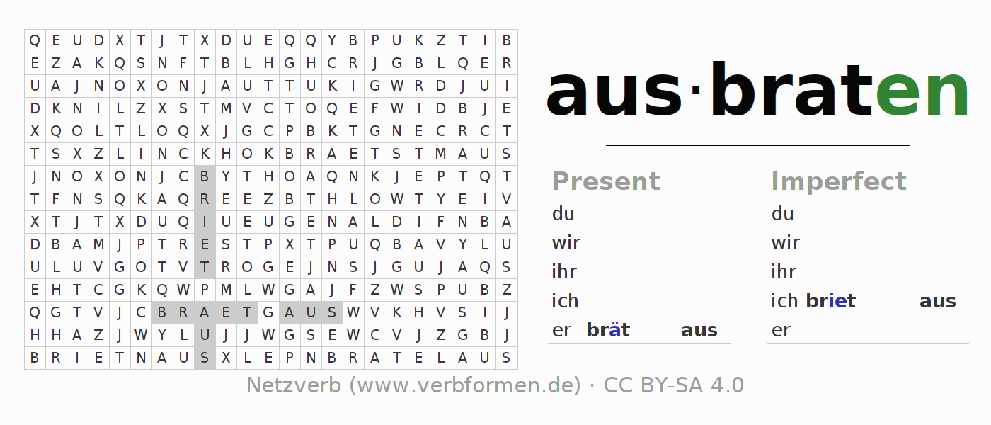 Word search puzzle for the conjugation of the verb ausbraten (hat)