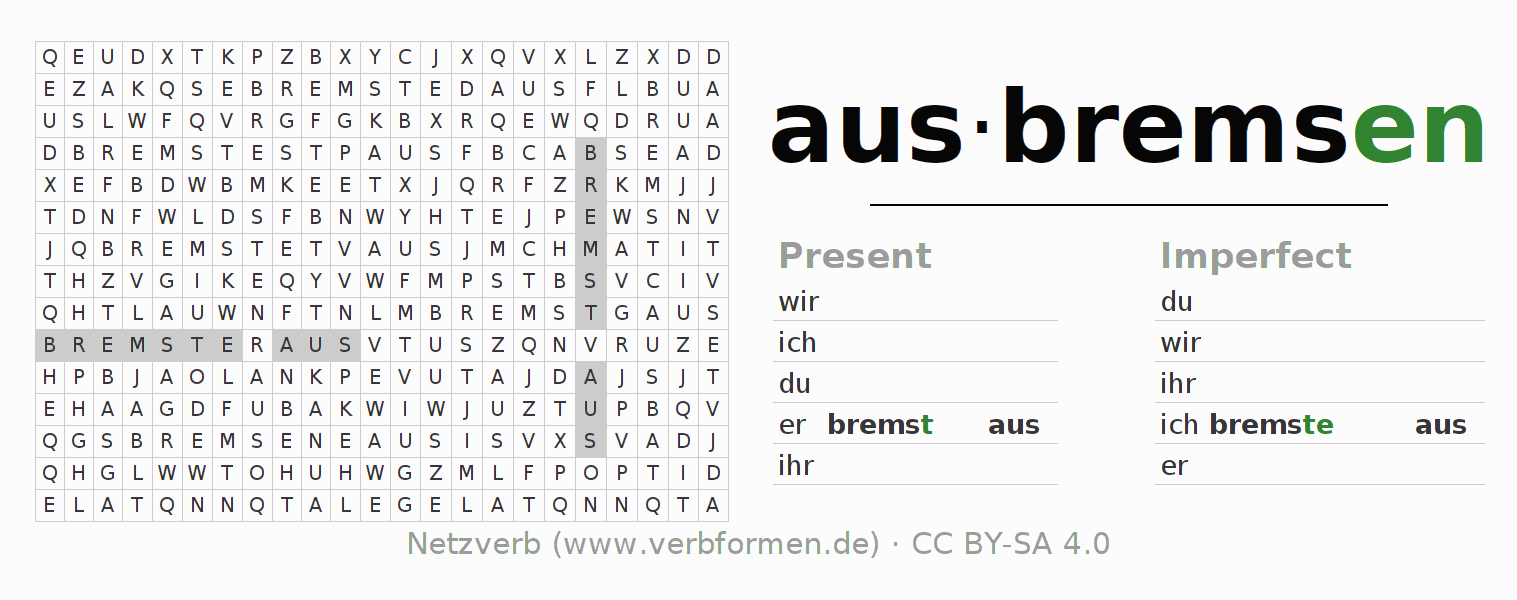 Word search puzzle for the conjugation of the verb ausbremsen