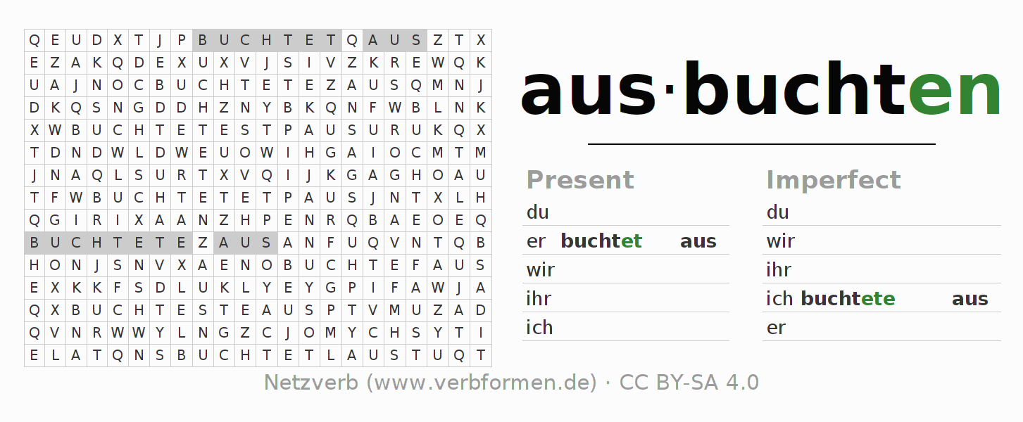 Word search puzzle for the conjugation of the verb ausbuchten