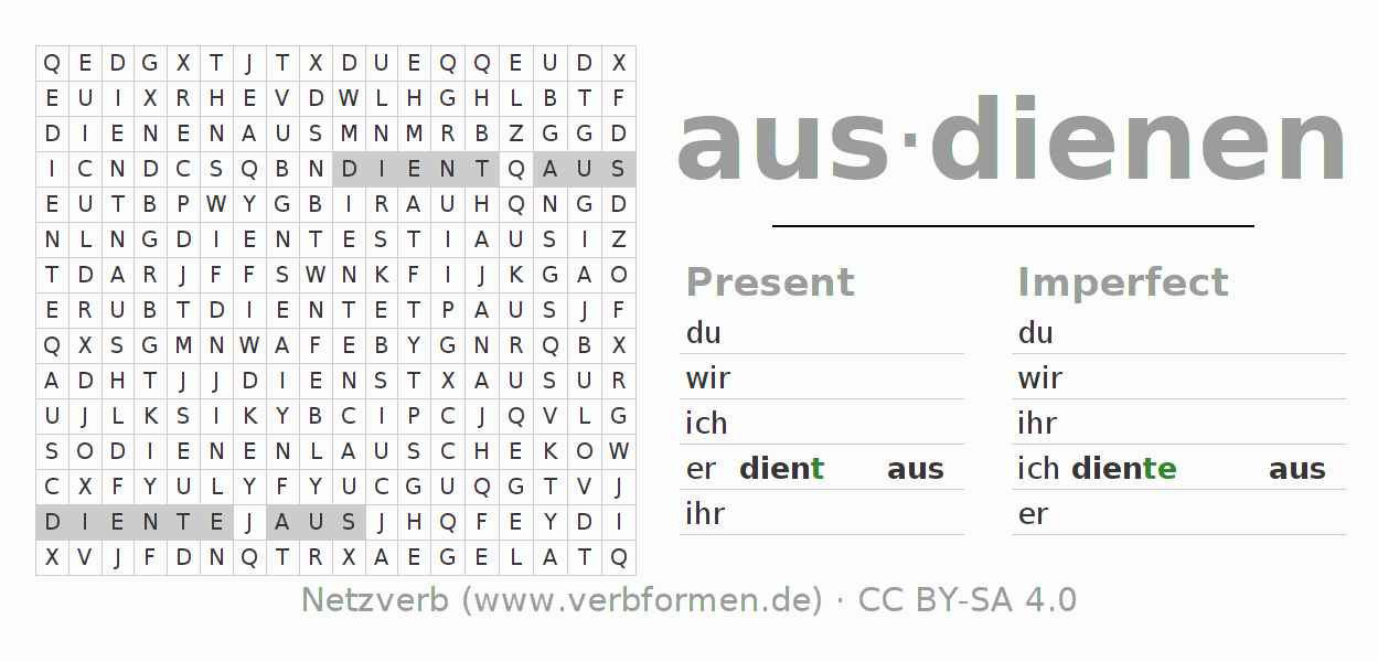 Word search puzzle for the conjugation of the verb ausdienen