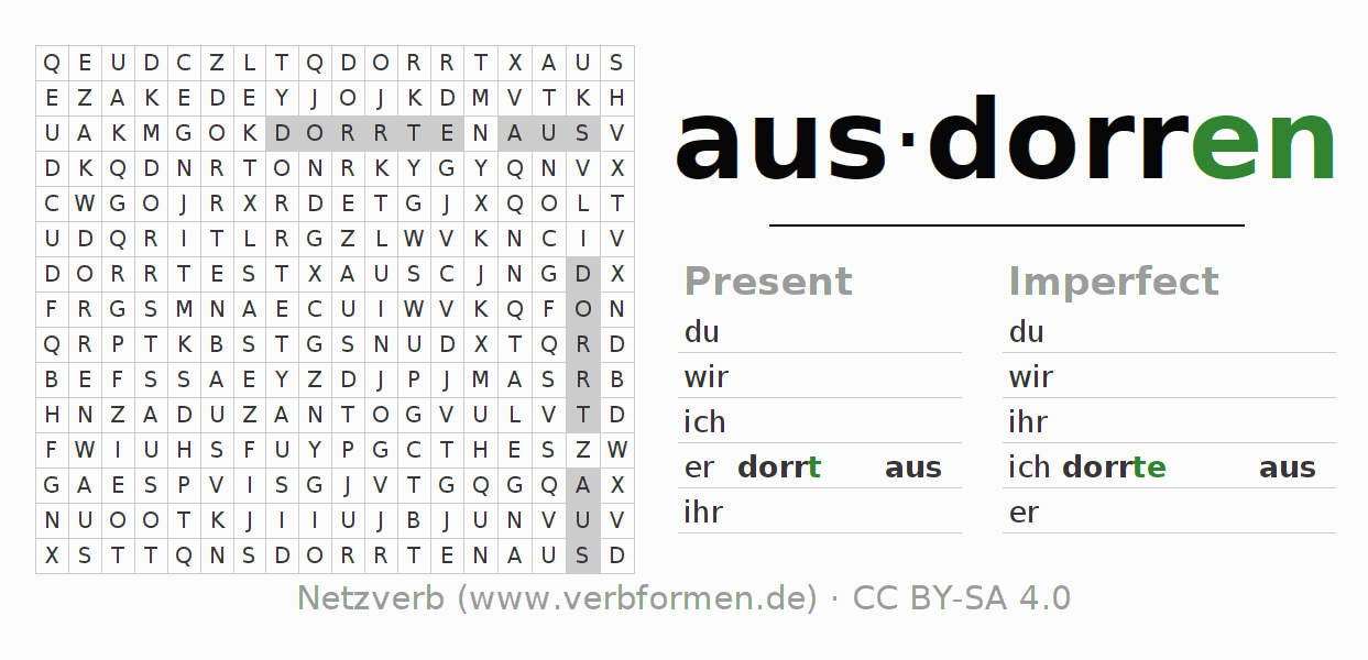 Word search puzzle for the conjugation of the verb ausdorren