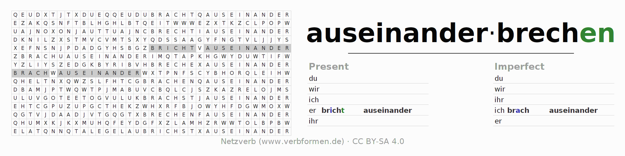 Word search puzzle for the conjugation of the verb auseinanderbrechen (hat)