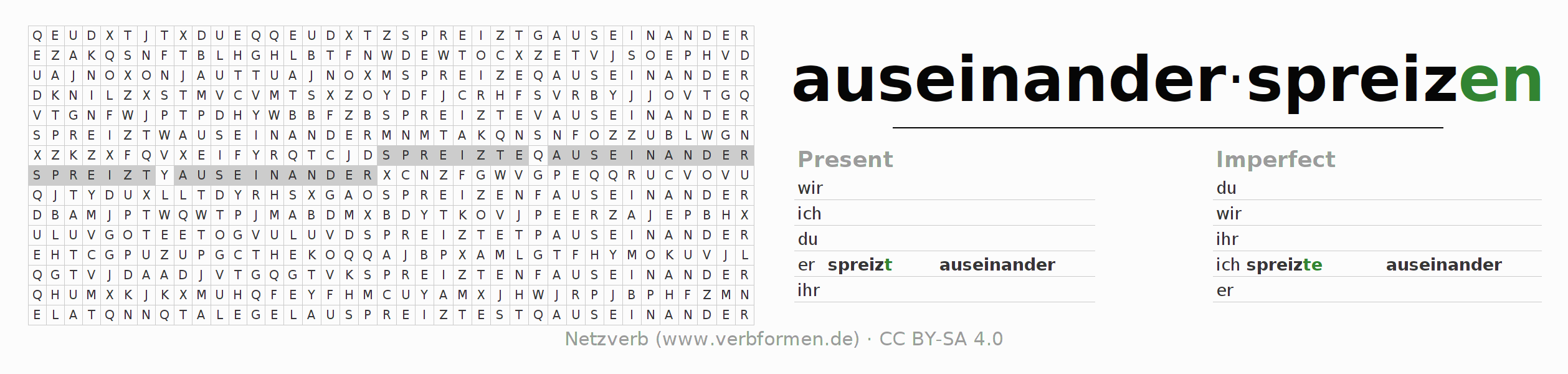 Word search puzzle for the conjugation of the verb auseinanderspreizen