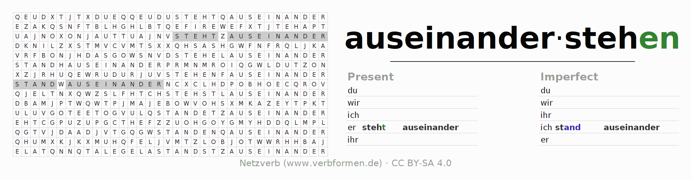 Word search puzzle for the conjugation of the verb auseinanderstehen (hat)