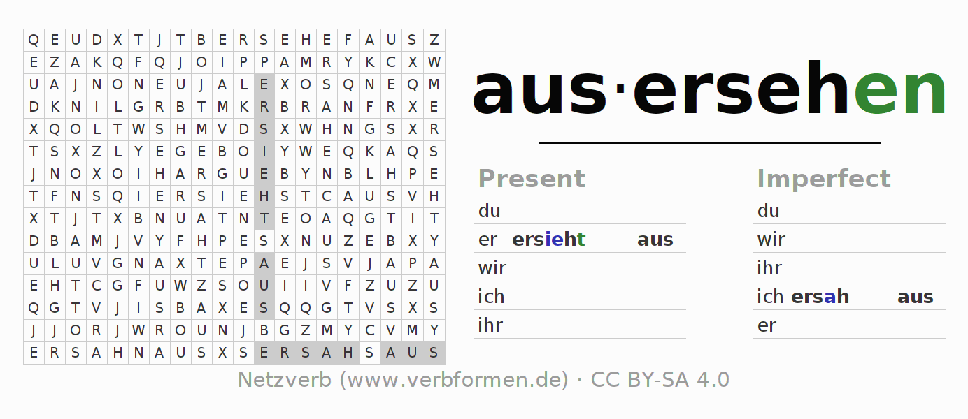 Workbooks sh worksheets : Worksheets | Verb ausersehen | Exercises for conjugation of German ...