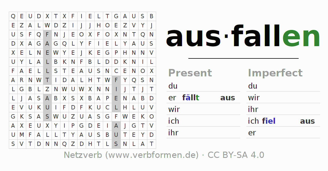 Word search puzzle for the conjugation of the verb ausfallen (ist)