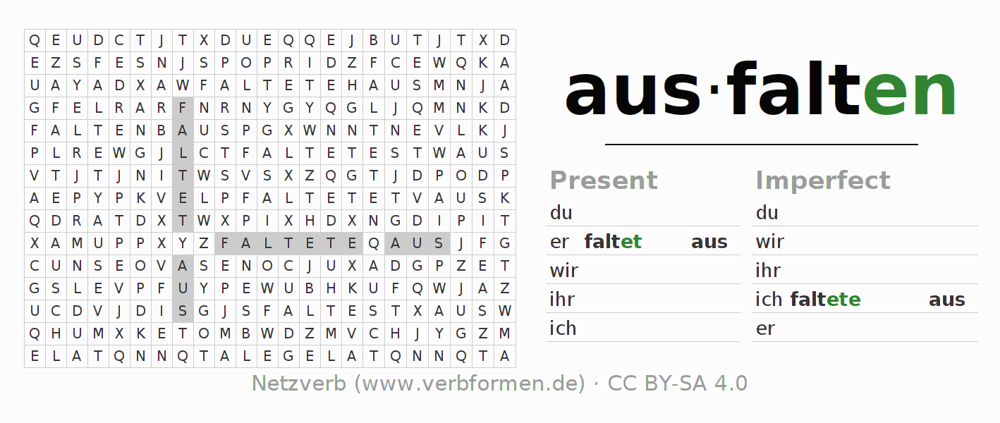 Word search puzzle for the conjugation of the verb ausfalten