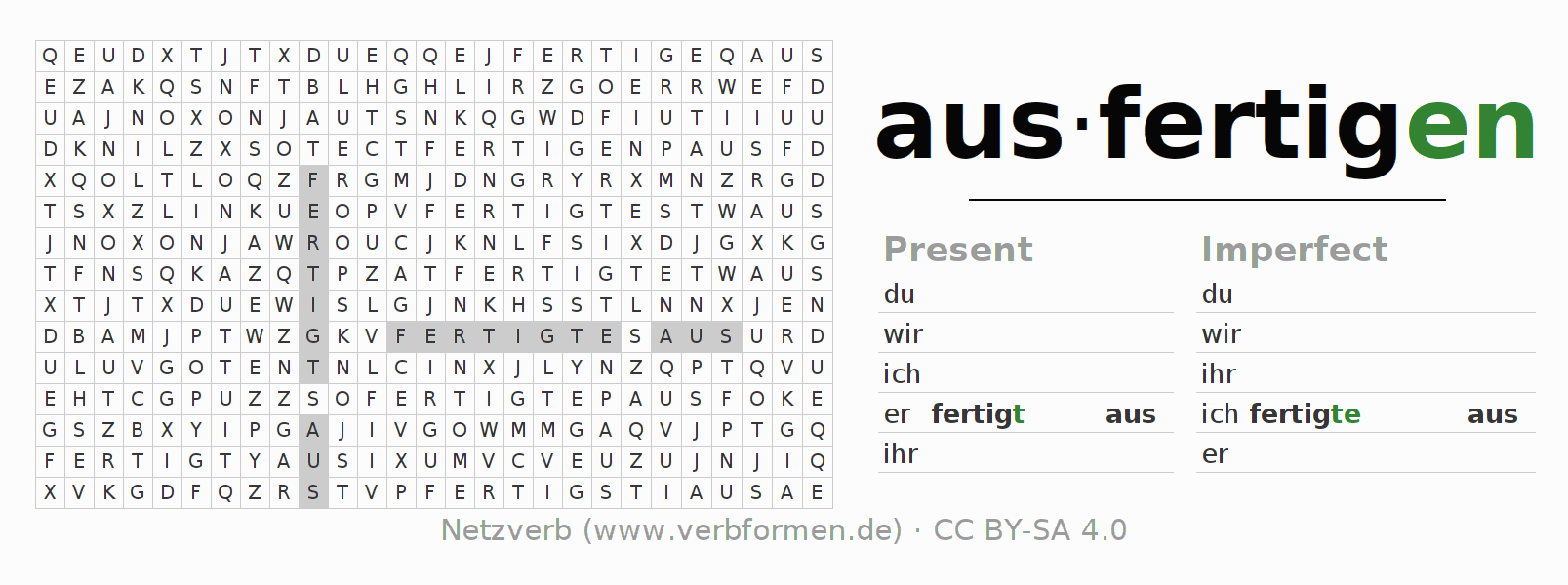 Word search puzzle for the conjugation of the verb ausfertigen