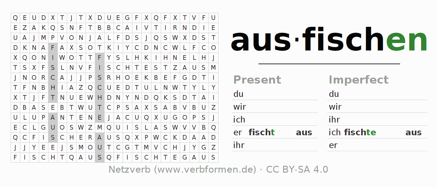 Word search puzzle for the conjugation of the verb ausfischen