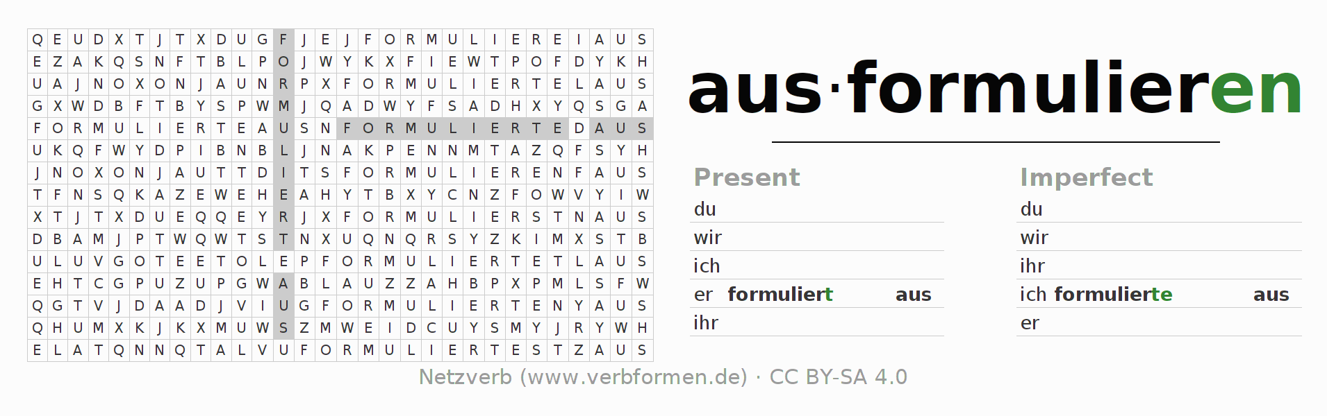 Word search puzzle for the conjugation of the verb ausformulieren