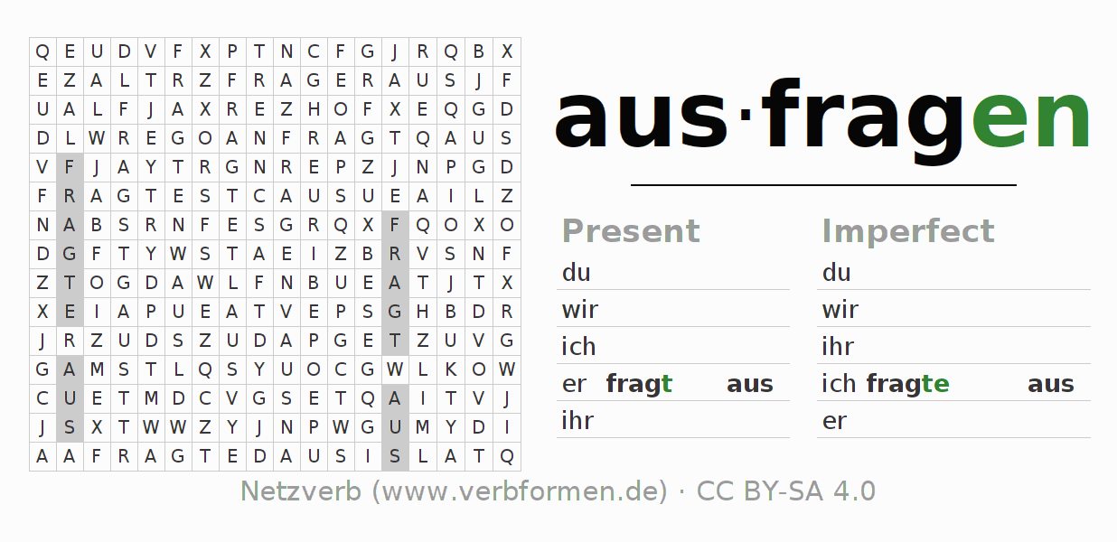Word search puzzle for the conjugation of the verb ausfragen (regelm)