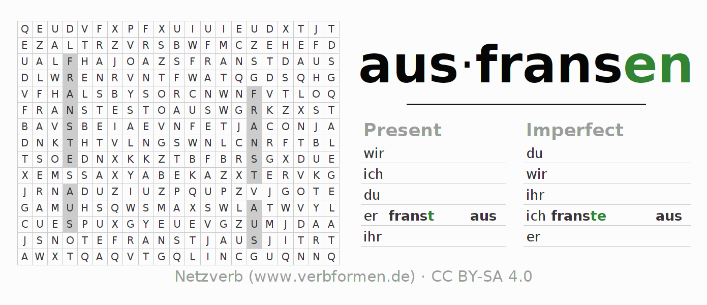 Word search puzzle for the conjugation of the verb ausfransen (hat)