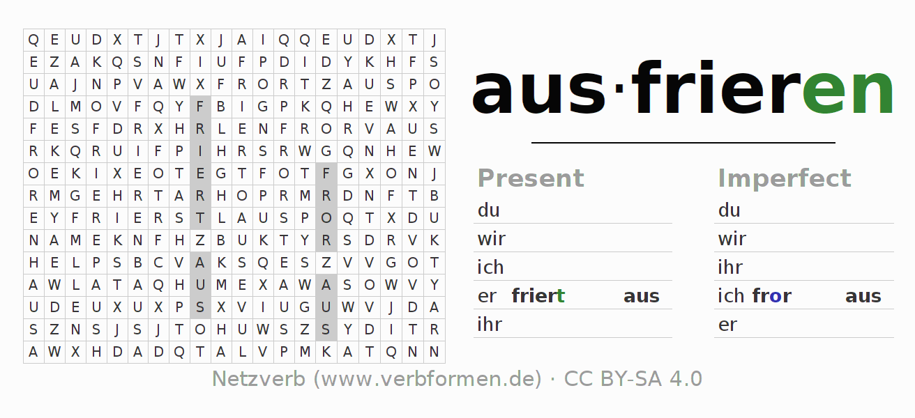 Word search puzzle for the conjugation of the verb ausfrieren (ist)