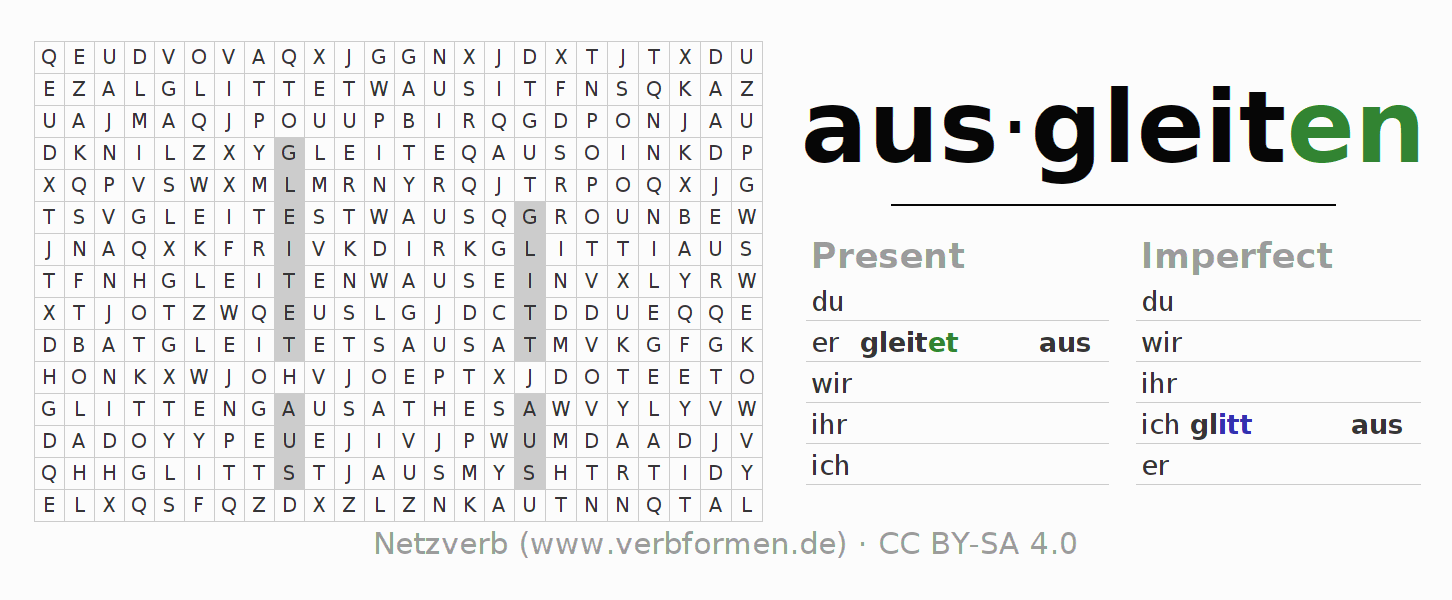 Word search puzzle for the conjugation of the verb ausgleiten
