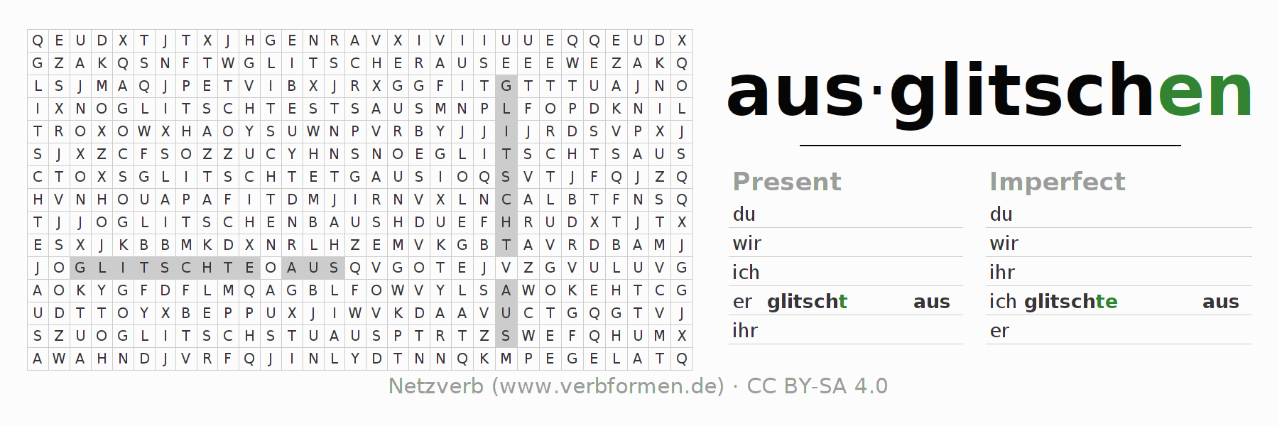 Word search puzzle for the conjugation of the verb ausglitschen