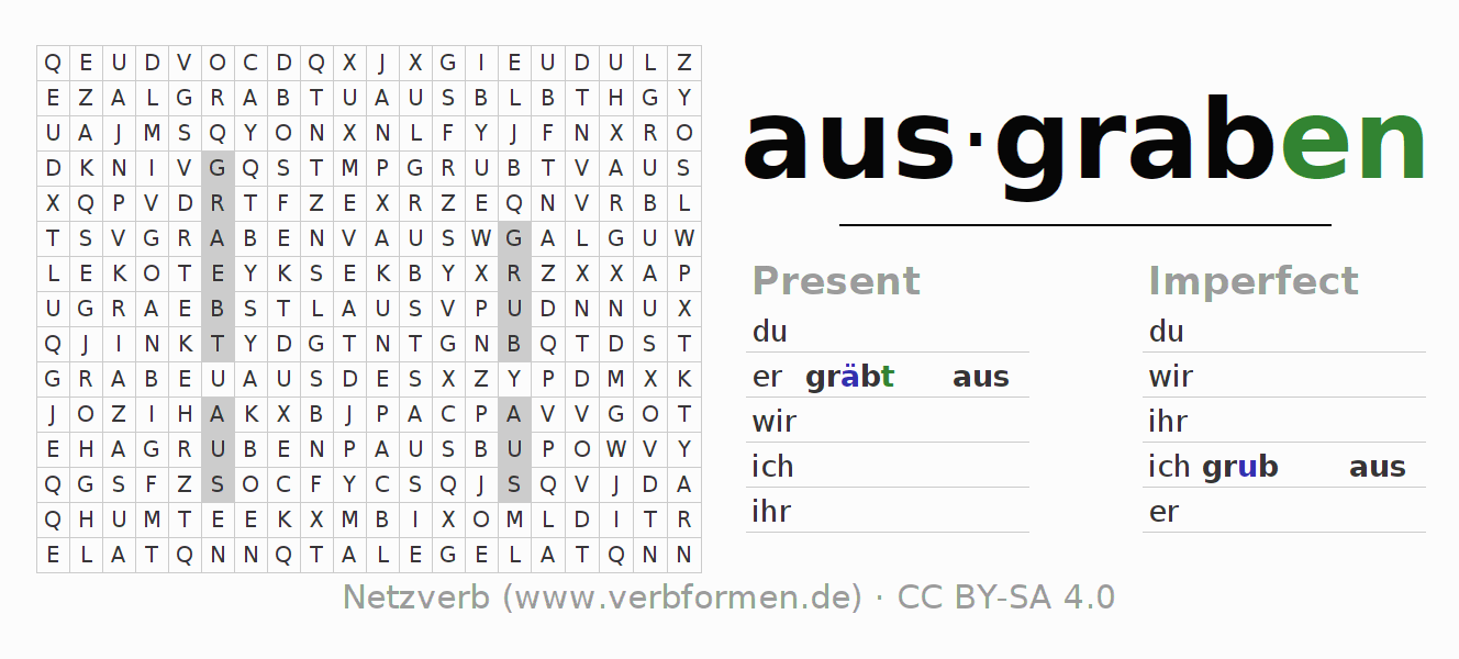 Word search puzzle for the conjugation of the verb ausgraben