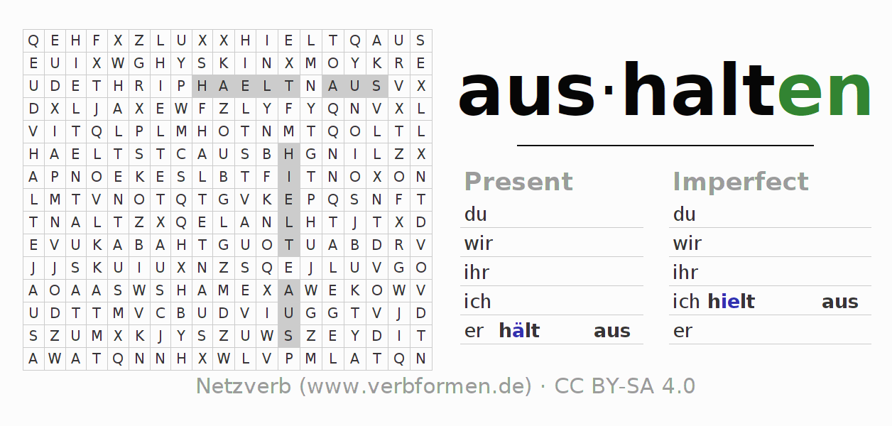 Word search puzzle for the conjugation of the verb aushalten