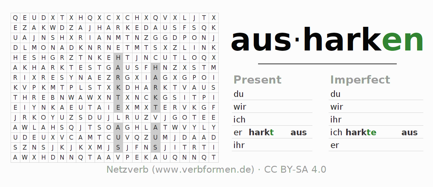Word search puzzle for the conjugation of the verb ausharken