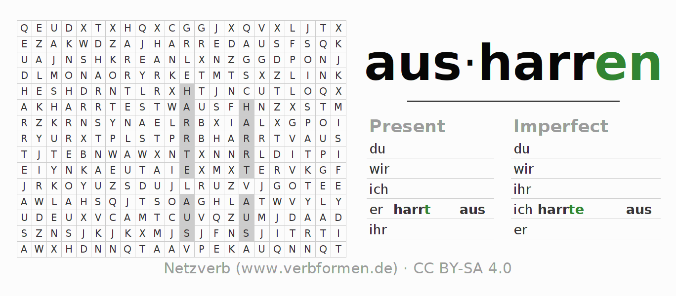 Word search puzzle for the conjugation of the verb ausharren