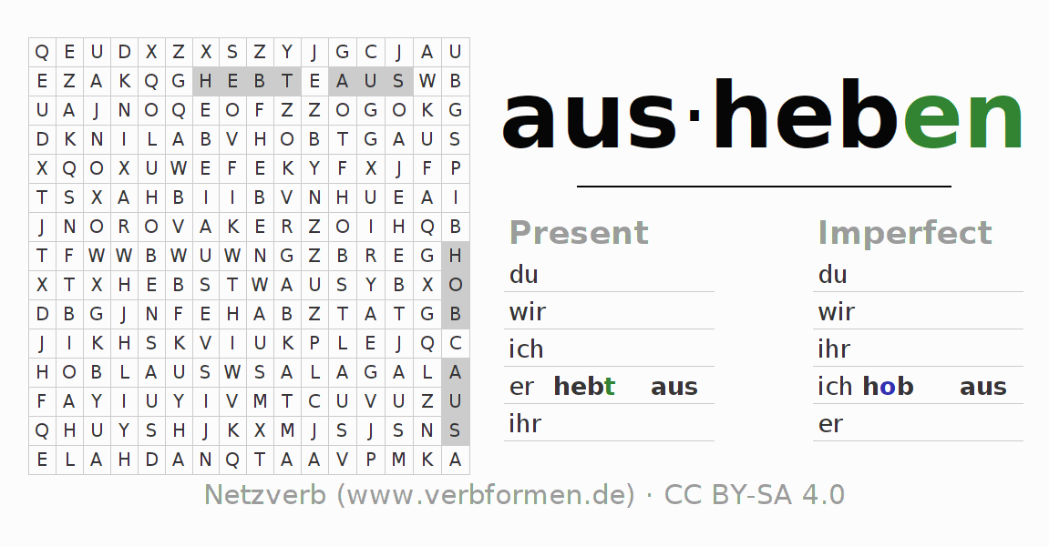 Word search puzzle for the conjugation of the verb ausheben