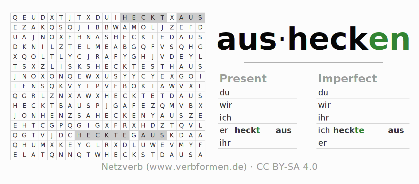 Word search puzzle for the conjugation of the verb aushecken