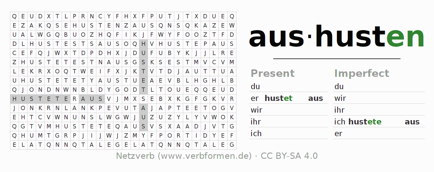 Word search puzzle for the conjugation of the verb aushusten