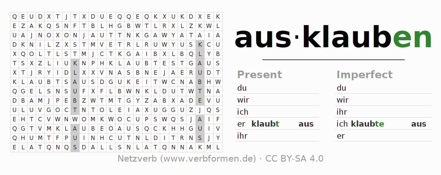 Word search puzzle for the conjugation of the verb ausklauben