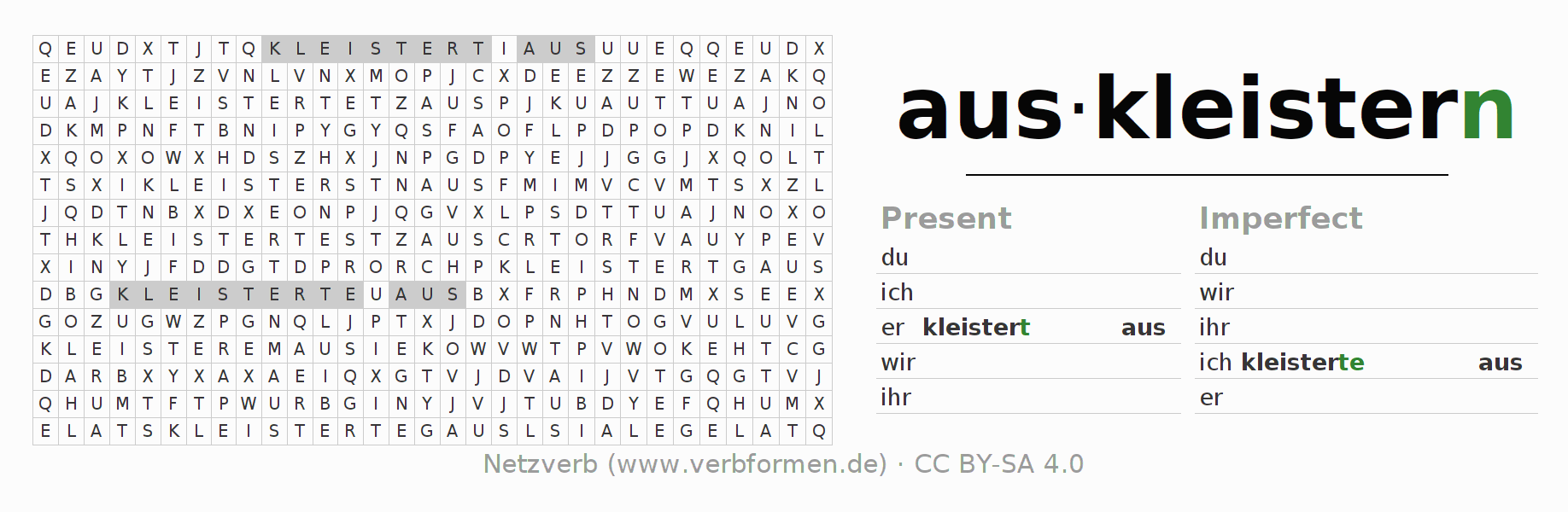 Word search puzzle for the conjugation of the verb auskleistern