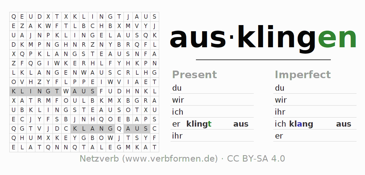 Word search puzzle for the conjugation of the verb ausklingen (ist)