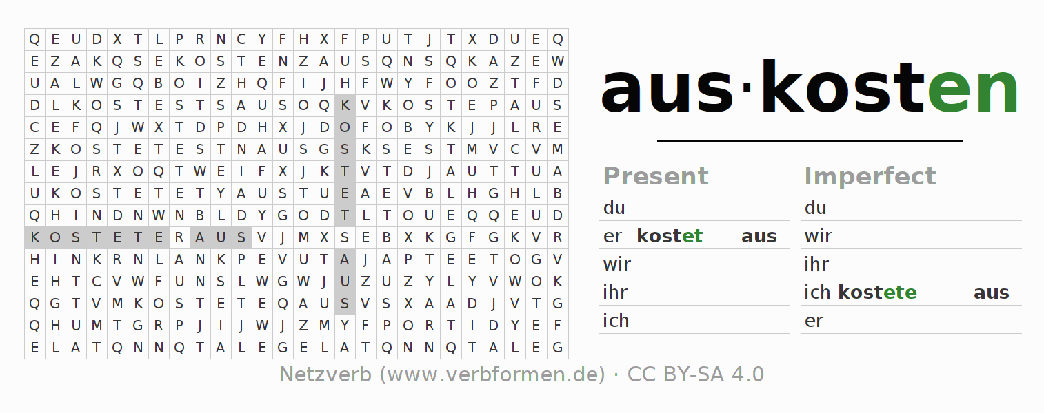 Word search puzzle for the conjugation of the verb auskosten