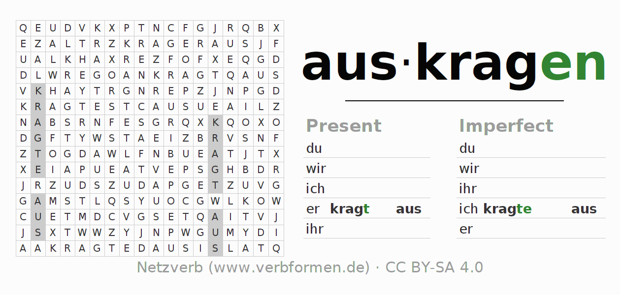 Word search puzzle for the conjugation of the verb auskragen