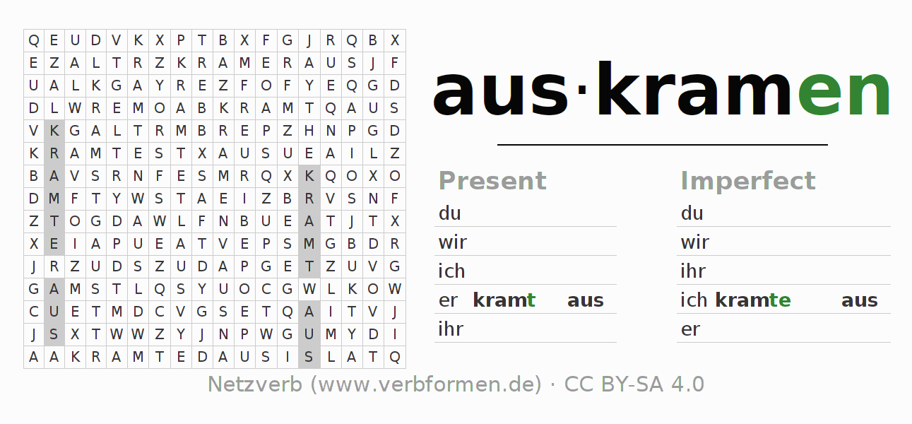 Word search puzzle for the conjugation of the verb auskramen