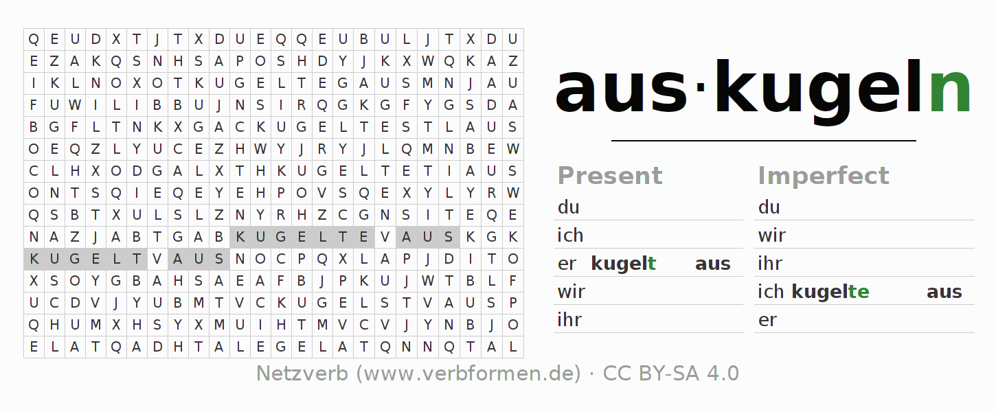 Word search puzzle for the conjugation of the verb auskugeln