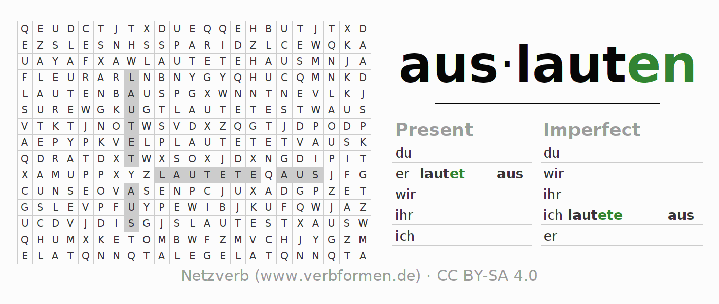 Word search puzzle for the conjugation of the verb auslauten