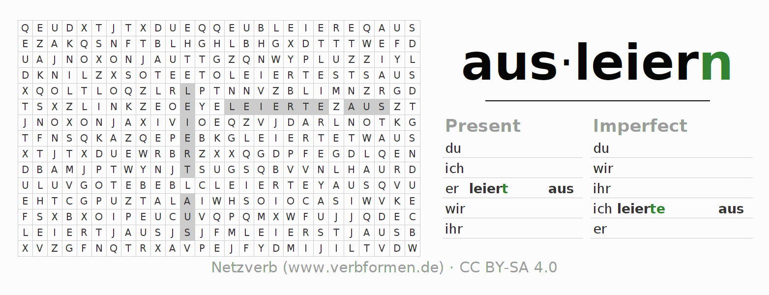 Word search puzzle for the conjugation of the verb ausleiern