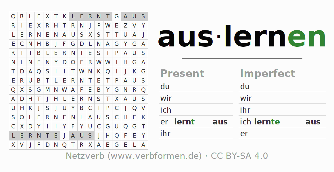 Word search puzzle for the conjugation of the verb auslernen