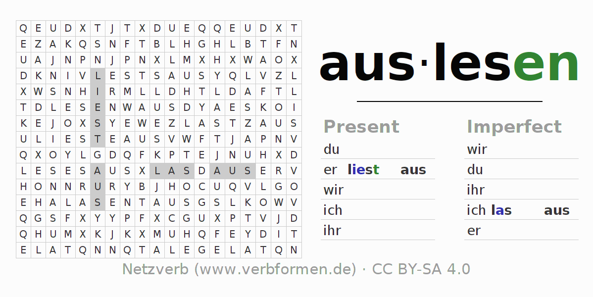Word search puzzle for the conjugation of the verb auslesen