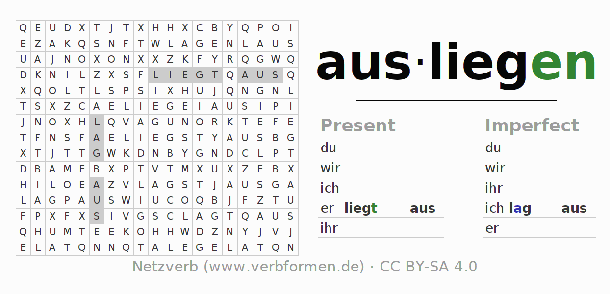 Word search puzzle for the conjugation of the verb ausliegen (hat)