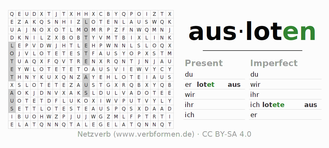 Word search puzzle for the conjugation of the verb ausloten