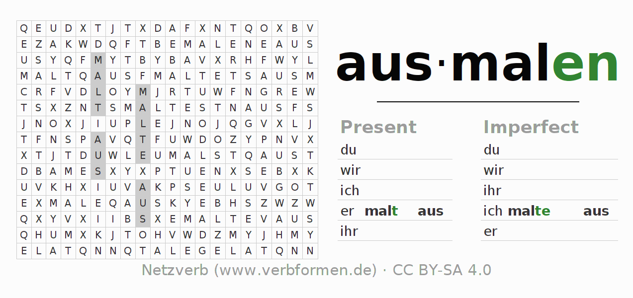 Word search puzzle for the conjugation of the verb ausmalen