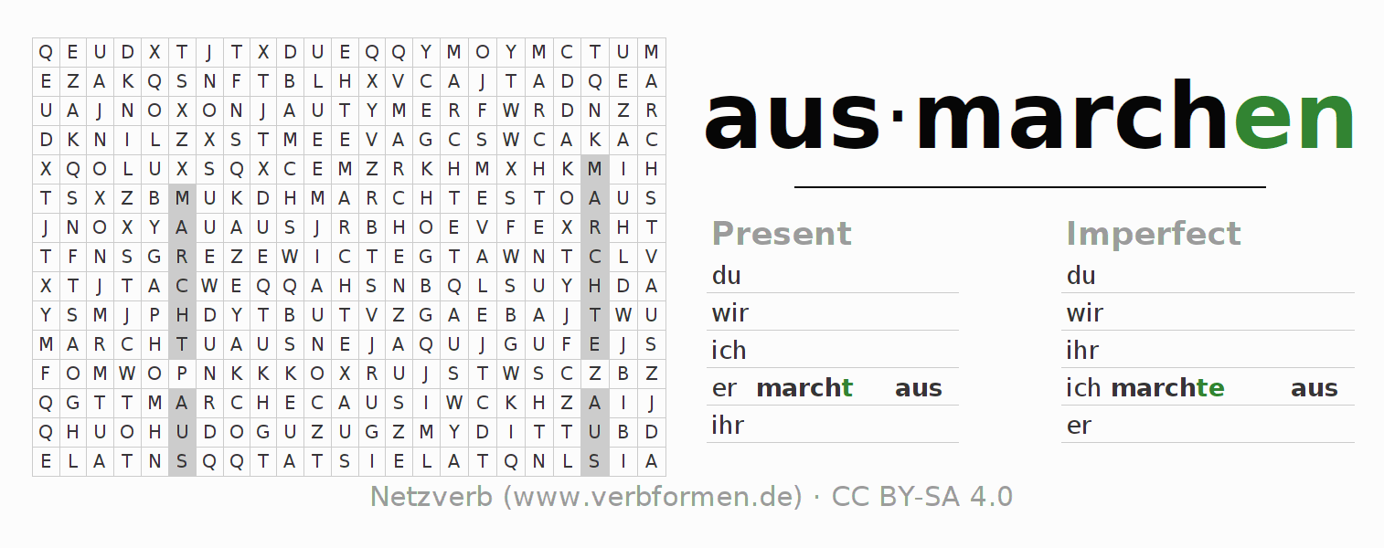 Word search puzzle for the conjugation of the verb ausmarchen